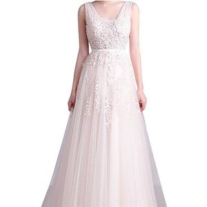 Women's Double V-neck Tulle Long Evening Gown